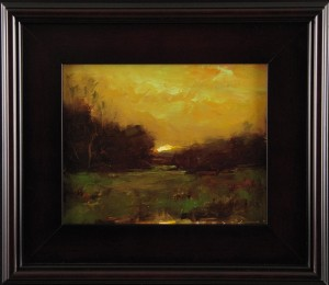The 2014 Pipers auction features beautiful pieces like this beautifully framed oil painting of a sunset by Angelo Halov from the Janus Gallery.